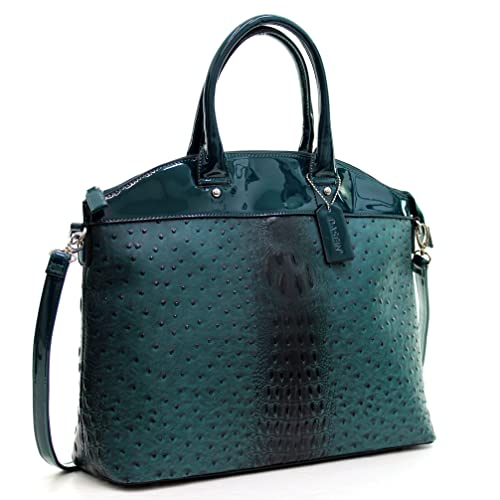 6e479664b6a2 Dasein Ostrich Elegantly Structured Satchel Briefcase Tote Shoulder Bag Handbag  Purse with Patent Trim