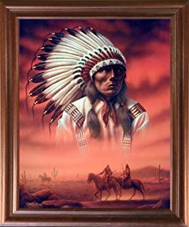 Native American Framed Poster - Chief Joseph with Riders Wall Decor Mahogany Picture Art Print (18x22)
