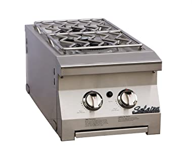 Solaire Double Side Mount Side Burner for Solaire 30 and 42-Inch Natural Gas Cart Grills, Stainless Steel