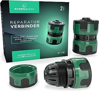 RASENWERK® - Conector de reparación de 1/2 y 5/8 pulgadas - Conector de manguera de agua - Accesorio para manguera de jard...