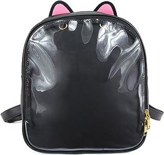 SteamedBun Ita Bag Ears Candy Leather Backpack Girls Transparent Beach School Bag
