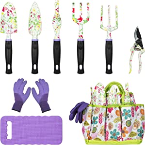 JUMPHIGH Gardening Tools Set, 9 PCS Heavy Duty Aluminum Garden Kit Includes Hand Trowel Rake Pruning Shears with Floral Print, Non-SlipRubber Handle, Storage Tote Bag, Gardening Gifts for Women