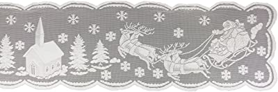 "DII 100% Polyester, Machine Washable, Holiday, Snow Village Lace Table runner, 14x72"", White"