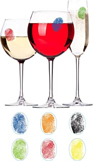 Barbuzzo Finger Mark Glass Markers - Set of 6 Reusable Vinyl Fingerprint Decals - Assorted Colors - ID Your Drink with Style - Great for Wine Glasses, Champagne Flutes, Pint Glasses & Other Glassware