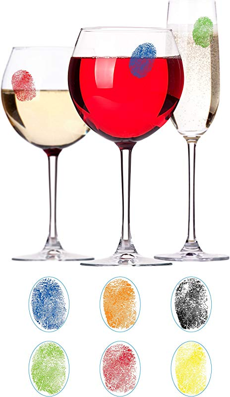 Barbuzzo Finger Mark Glass Markers Set Of 6 Reusable Vinyl Fingerprint Decals Assorted Colors ID Your Drink With Style Great For Wine Glasses Champagne Flutes Pint Glasses Other Glassware
