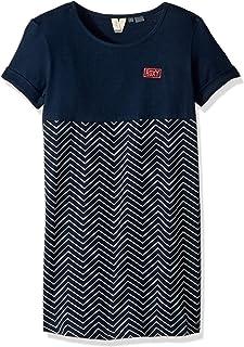 فستان Roxy للفتيات بأكمام قصيرة مطبوع عليه صورة الغابة الليلية الكبيرة