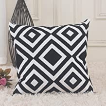Home Brilliant Halloween Decorations Square Embroidery Throw Pillow for Bed Cushion Sham Geometric Pattern, 45x45 cm, Black and White
