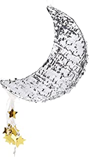 Juvale Small Silver Moon Pinata, Gender Reveal, Baby Shower Party Supplies, 17 x 11 x 3 Inches