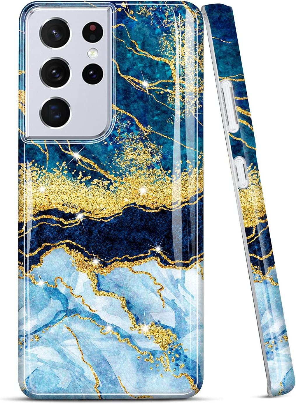 JIAXIUFEN Galaxy S21 Ultra Case Gold Sparkle Glitter Marble Slim Shockproof TPU Soft Rubber Silicone Cover Phone Case for Samsung Galaxy S21 Ultra 5G 6.8 inch 2021 Dark Blue