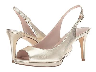 Nine West Gabrielle Slingback Peep Toe Pump (Light Gold Metallic) Women