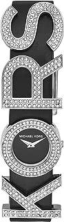 Michael Kors Women's Kors Logo Stainless Steel Quartz Watch with Leather Strap, Black, 16 (Model: MK2851)