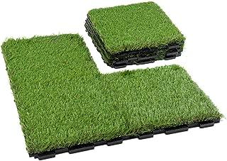 GOLDEN MOON Grass Tile Series PP Interlocking Grass Deck Tiles, Artificial Anti-wear Turf Tiles, New Lock 6 Pieces(1.5