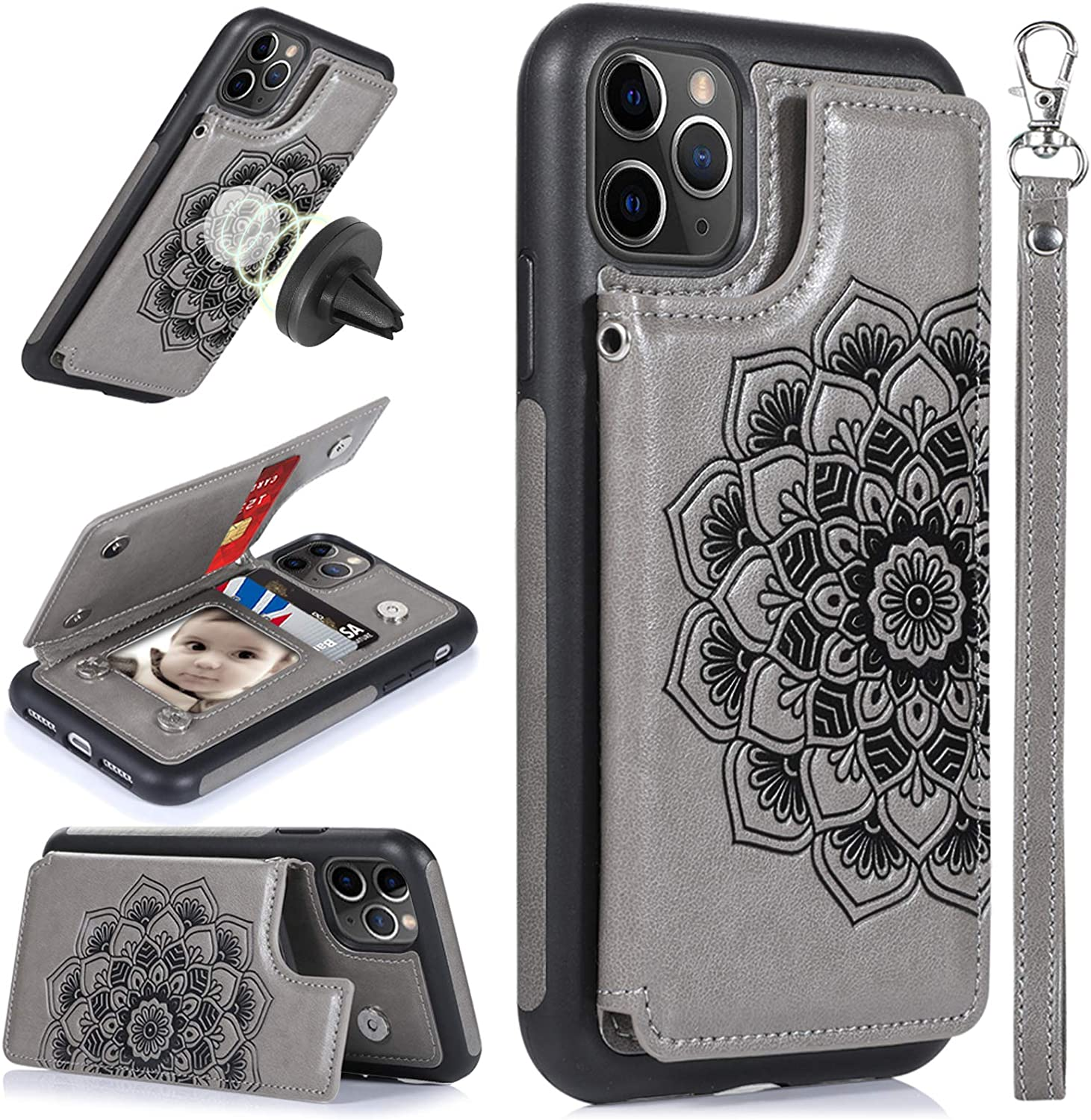 CASEOWL iPhone 11 Pro Max Case,Wallet Case with Card Holder,RFID Blocking,Kick Stand,Wrist Strap,Fit Magnetic Car Mount,Mandala Embossed Leather Back Flip Cover Case for iPhone 11 Pro Max(2019),Gray