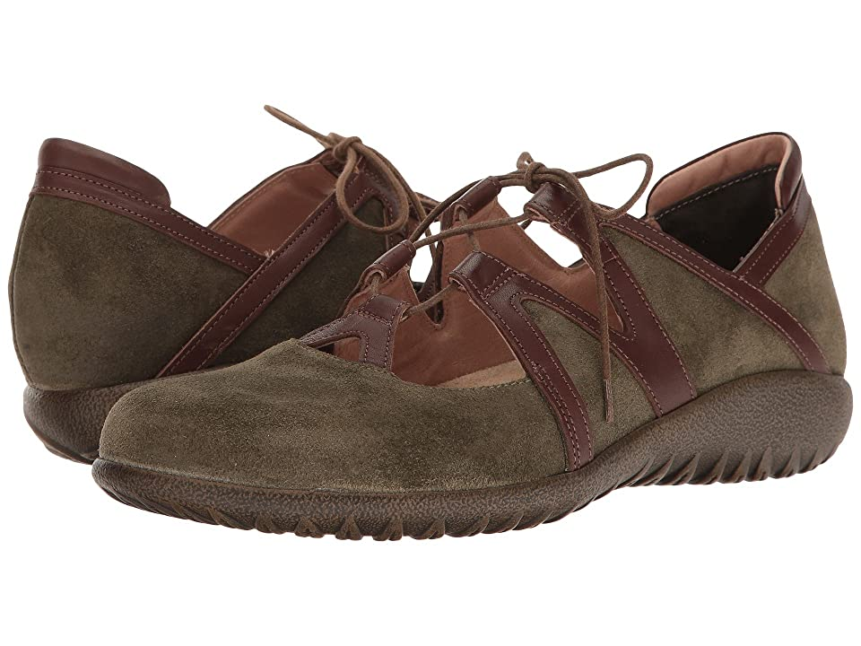 Naot Timu (Oily Olive Suede/Toffee Brown Leather) Women