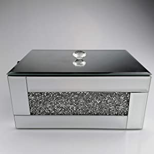BANQLE Crystal Jewelry Box Jewelry Organizer,Handmake High-end Luxury Jewelry Storage,Home Accessory Perfect Container for Storage Decor (Silver)