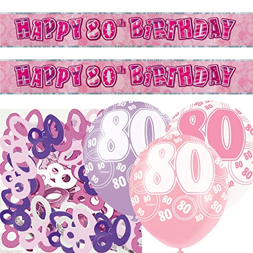 Unique BPWFA 4182 Glitz 80th Birthday Foil Banner Party Decoration Kit Pink