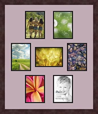 Art to Frames Double-Multimat-99-712//89-FRBW26061 Collage Frame Photo Mat Double Mat with 5-4x6 and 1-8x10 Openings and Espresso Frame