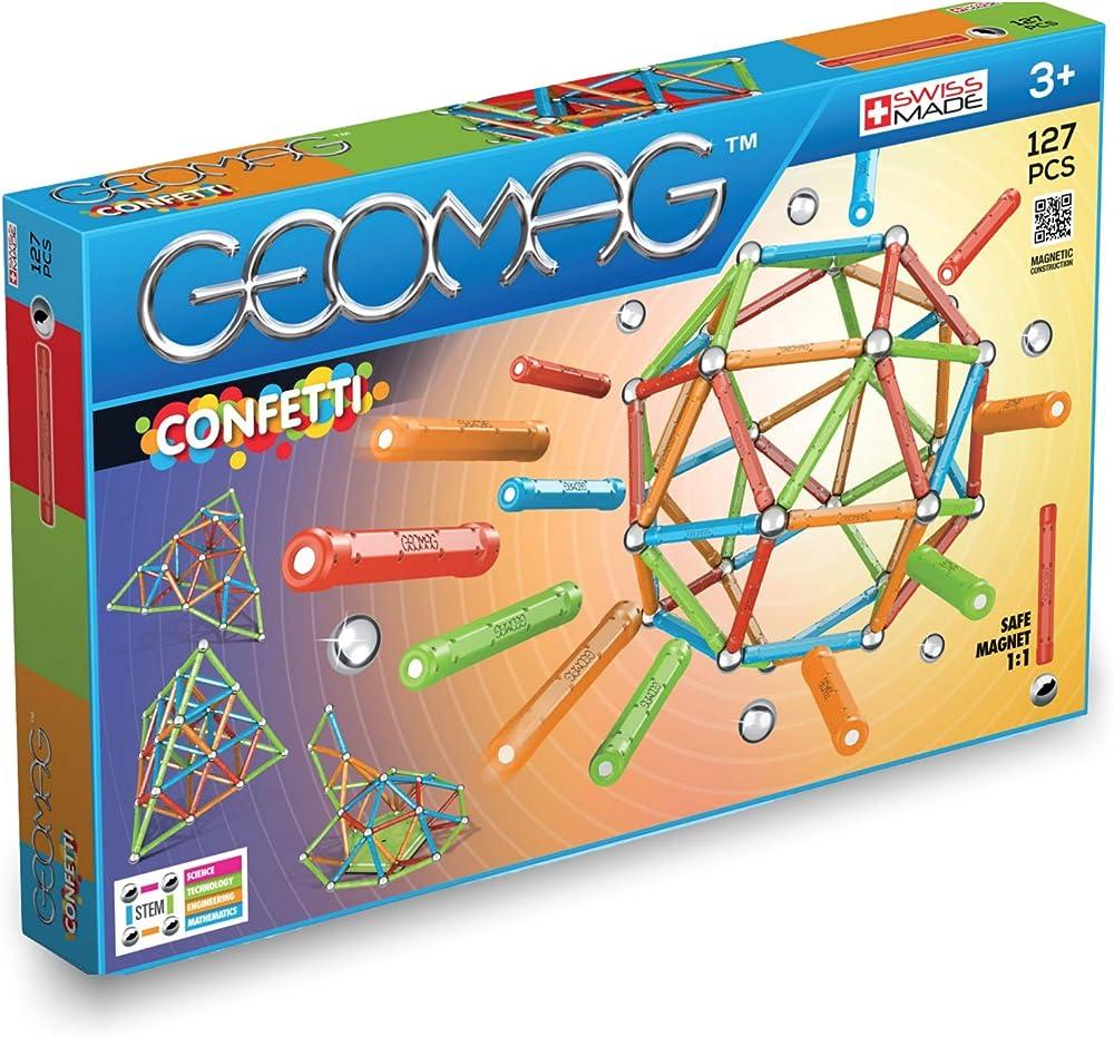 Geomag confetti,gioco di costruzione magnetico, multicolore, 127 pezzi 354