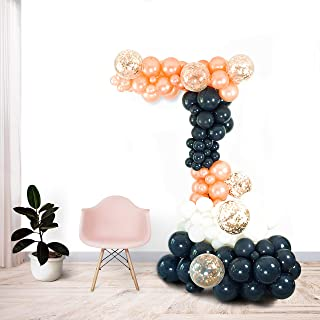 Shimmer and Confetti 141 Pack Premium Navy Blue, Rose Gold, White Balloon Arch and Garland Kit 135 Navy, Rose Gold, White Balloons, 6 Confetti Balloons, 16 foot Strip, Glue Dots, Pump. Gender Reveal Birthday Graduation