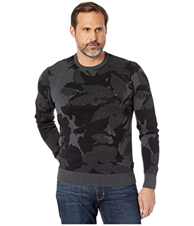 Calvin Klein Cotton Modal Printed Crew Neck Sweater 12GG (Gunmetal Heather) Men