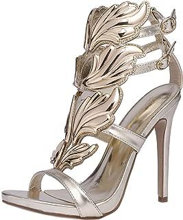 Peatutoori Women's Peep Toe High Heels Shoes Flame Gladiator Pumps Shoes Dress Party Buckle Strap