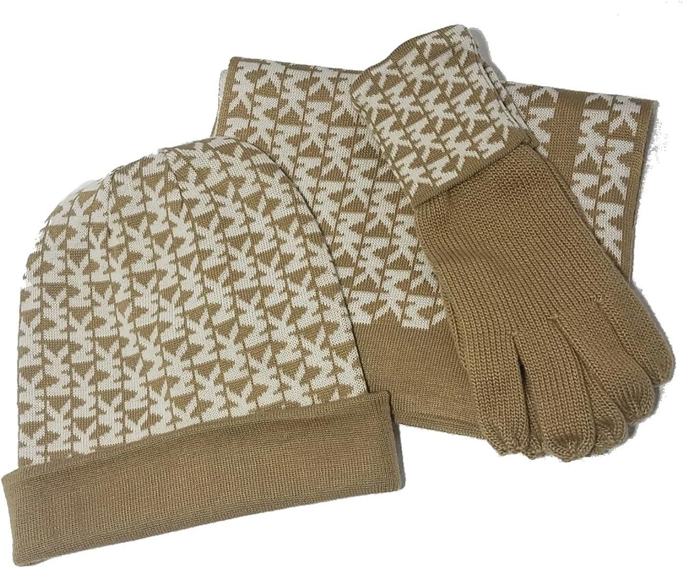 Michael Kors Women's 3 Piece Set MK Logo Scarf, Hat & Gloves, Camel/Cream