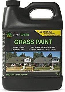1000 sq ft 34 oz Keep'N It Green Grass Turf Liquid Spray paint Dye Concentrated To Repair Yard, Lawn, Dog Pee, Brown Yellow Dead Grass and Drought.