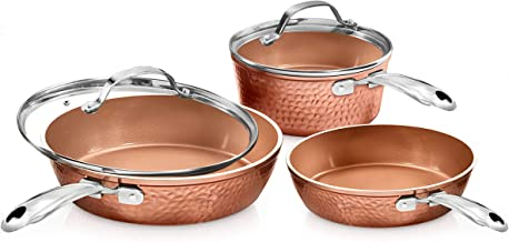 Gotham Steel Premium Hammered Cookware – 5 Piece Ceramic Cookware, Pots and Pan Set with Triple Coated Nonstick Copper Sur...