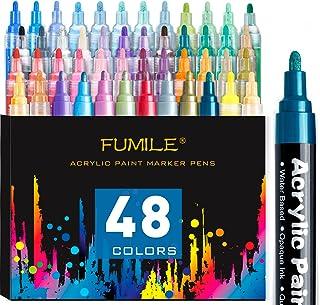 FUMILE Acrylic Paint Pens,48 Colors Paint Marker Pen Set Ideal for Rock Wood, Metal, Plastic, Glass, Canvas, Ceramic,Easte...