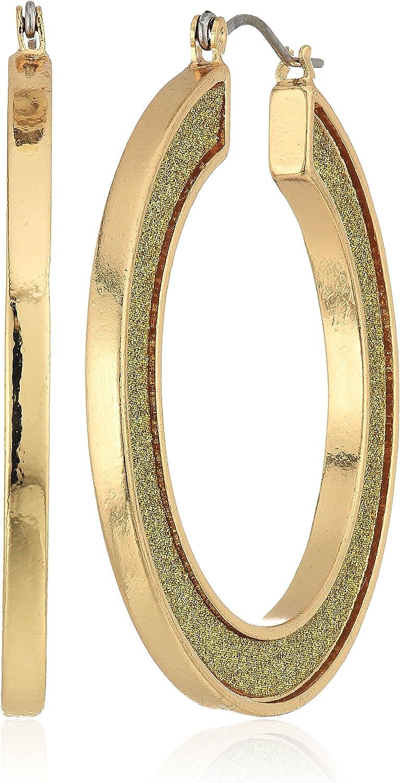 Steve Madden Gold Plated Stainless Steel Round Flat Hoop Glitter Hinge Drop Earrings