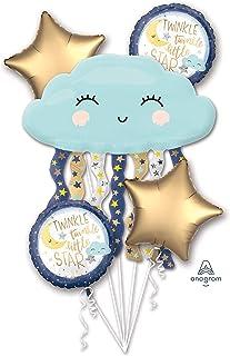 Amscan Bouquet Twinkle Little Star Foil Balloon P75 Packaged, Multi-Colour, 3850701,10133483