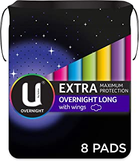 U BY KOTEX Maxi's U By Kotex Extra Overnight Long Pads with Wings (Pack of 8), Pack of 8 0.157 kilograms