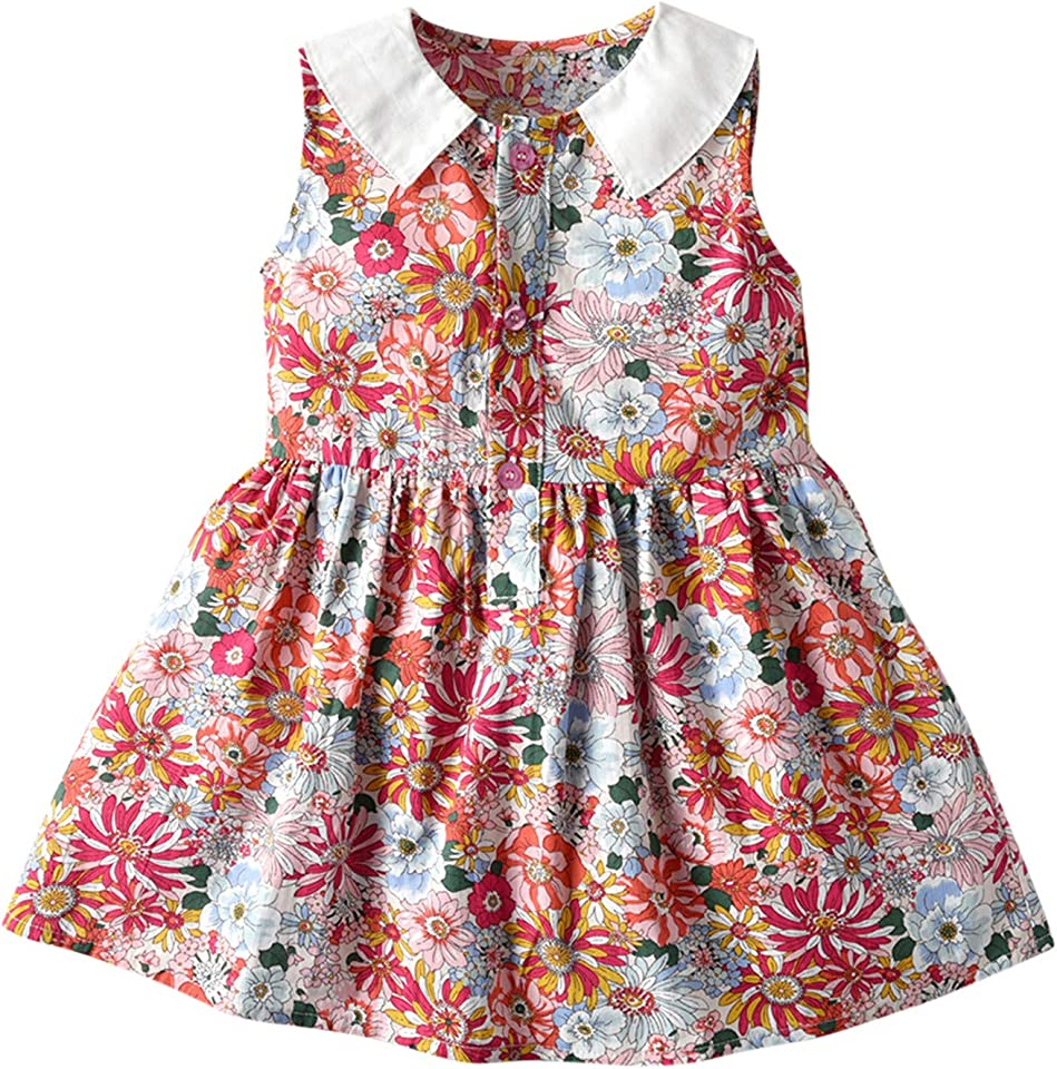 Girl Floral Romper Dress Cute Clothes Toddler Baby Girls Sleeveless Floral Printed Princess Dress