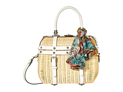 Patricia Nash Avenza Wicker Satchel (Natural/White/FB Scarf) Bags
