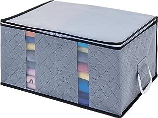 1Storage Charcoal Fiber Clothing Organizer Bag, 2Cells, Carry Handles, Grey 902-1