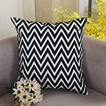 Home Brilliant Fall Throw Pillow Embroidery Cushion Cover for Chair, 45x45, Halloween Pillow Covers 18x18,Black and White Zig Zag Chevron Stripe Pattern