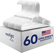 Neaties American Made 60 Premium Children's White Plastic Hangers with Notches and Heavy Duty Flexible Construction, 60pk