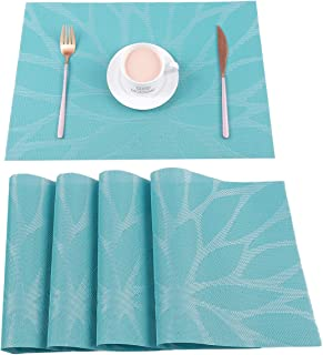 HEBE Washable Placemats for Dining Table Heat Insulation Stain Resistant Woven Vinyl Kitchen Table Mats Placemat Set of 4...