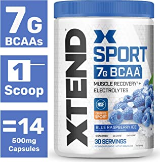 XTEND Sport BCAA Powder Blue raspberry | NSF Certified for Sport + Sugar Free Post Workout Muscle Recovery Drink with Amino Acids | 7g BCAAs for Men & Women | 30 Servings | Packaging May Vary
