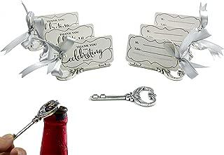 50pcs Multi Function Vintage Skeleton Key Bottle Opener Place Card Holders for Weddings Table Name Cards for Guest Souvenir (Antique Silver)