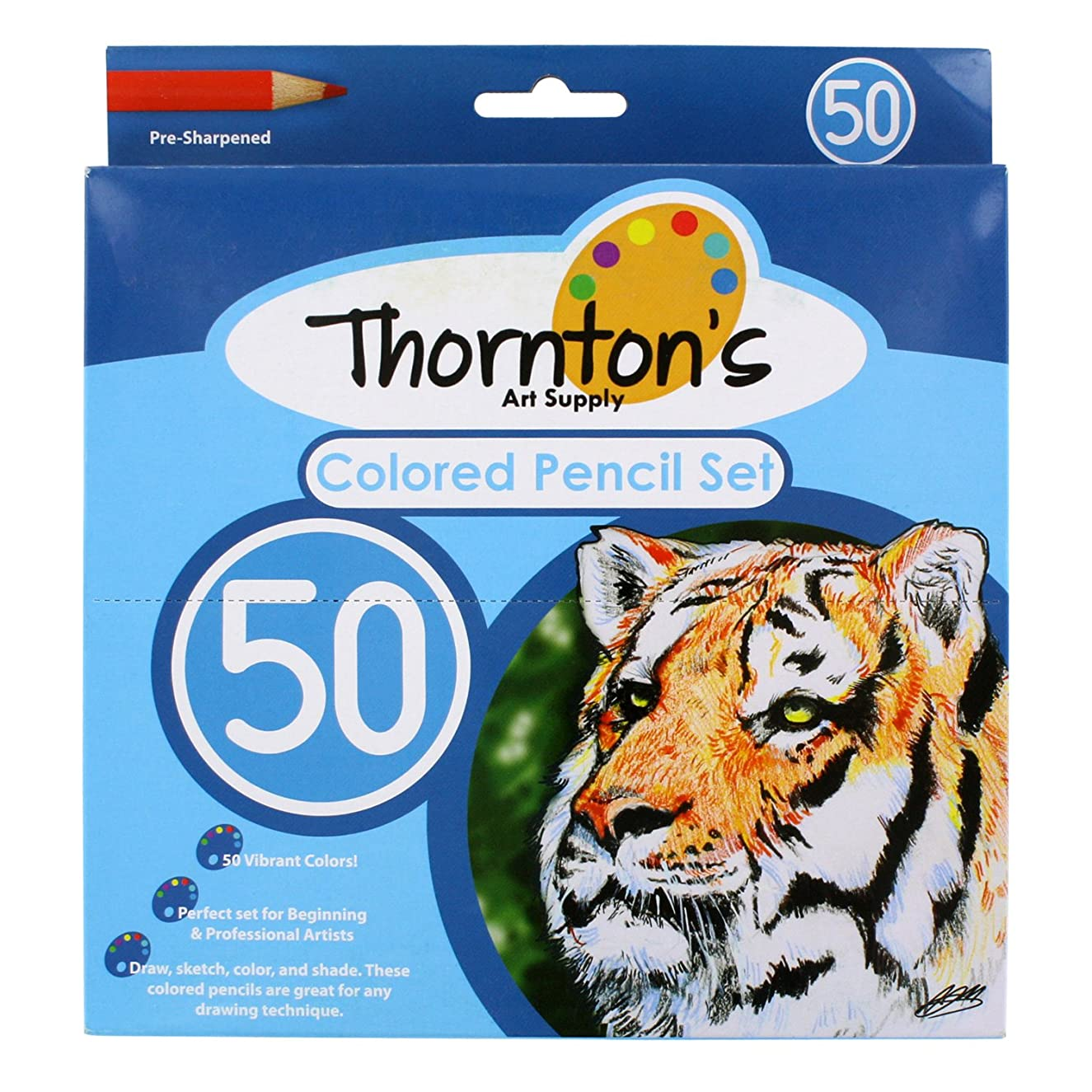 Thornton's Art Supply 50 Piece Premier Soft Core Artist Grade Colored Pencil Set, Assorted Colors