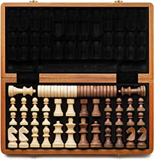 """A&A 15"""" Folding Wooden Chess & Checkers Set w/ 3"""" King Height Chess Pieces / 2 Extra Queen/German Knight Staunton Wooden C..."""