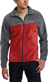 Columbia Men's Steens Mountain Full Zip 2.0 Soft Fleece Jacket, Charcoal Heather/Red Element, X-Large