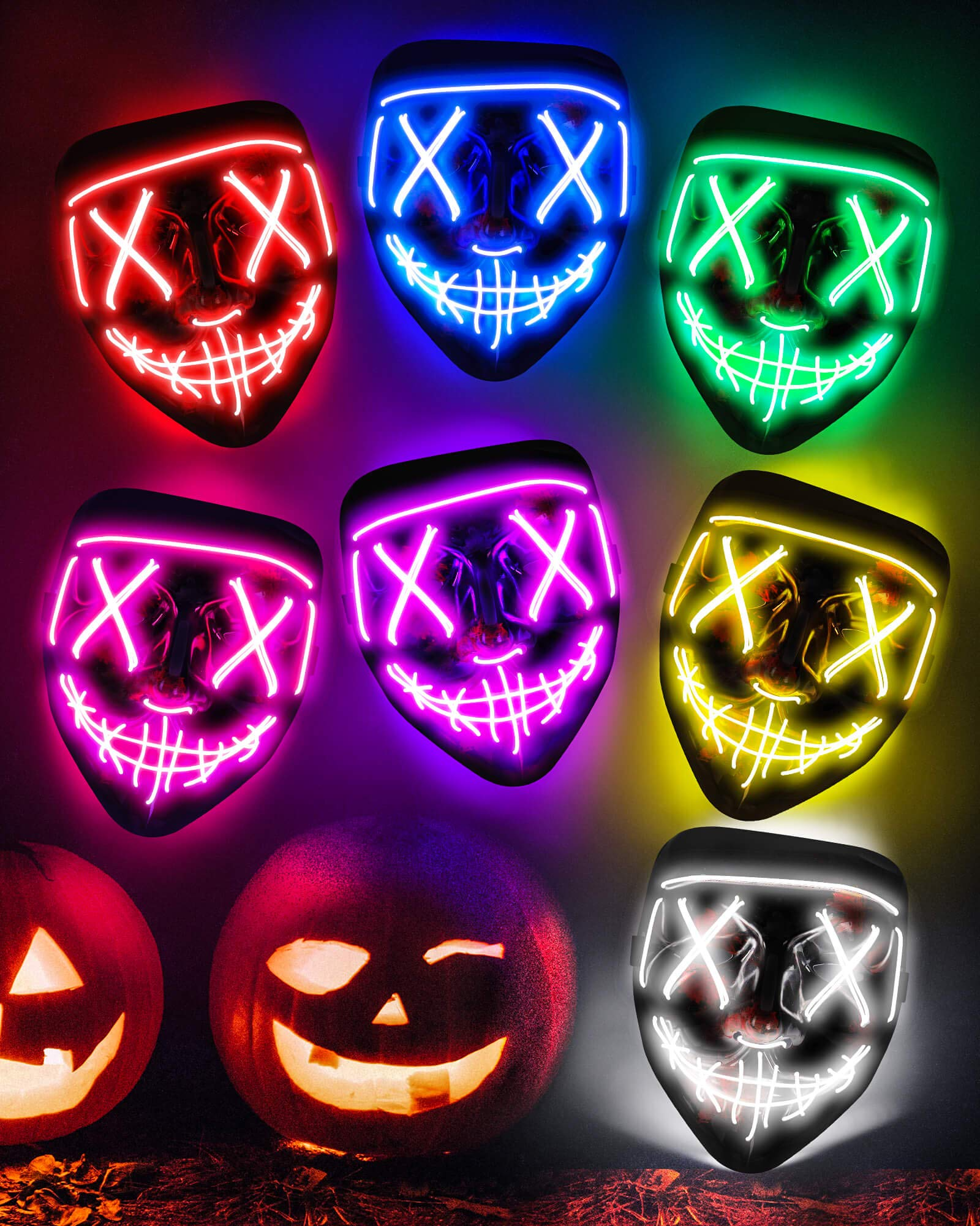 Sago Brothers Scary Halloween Mask LED Light up Mask Cosplay Glowing in The Dark Mask Costume 3 Lighting Modes Halloween Face Masks for Men Women Kids Blue