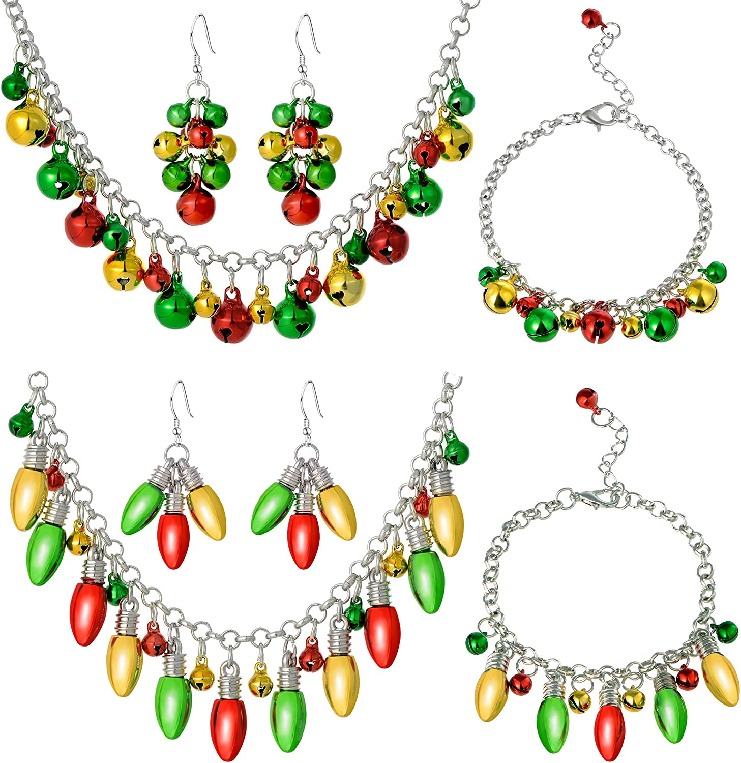 Cuicanstar 6 Pieces Christmas Jewelry Set Gift for Women Girls,Christmas Bulb Jingle Bell Holiday Necklace Chain Link Bracelet Drops Dangle Earrings Set.