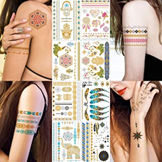 Metallic Tattoos - 100+ Shimmer Designs in Gold, Silver, Black, Blue, Red and Turquoise - Temporary Fake Jewelry Tattoos - Bracelets, Feathers, Elephant, Peacock, Mandala Mehndi, Wrist and Arm Bands