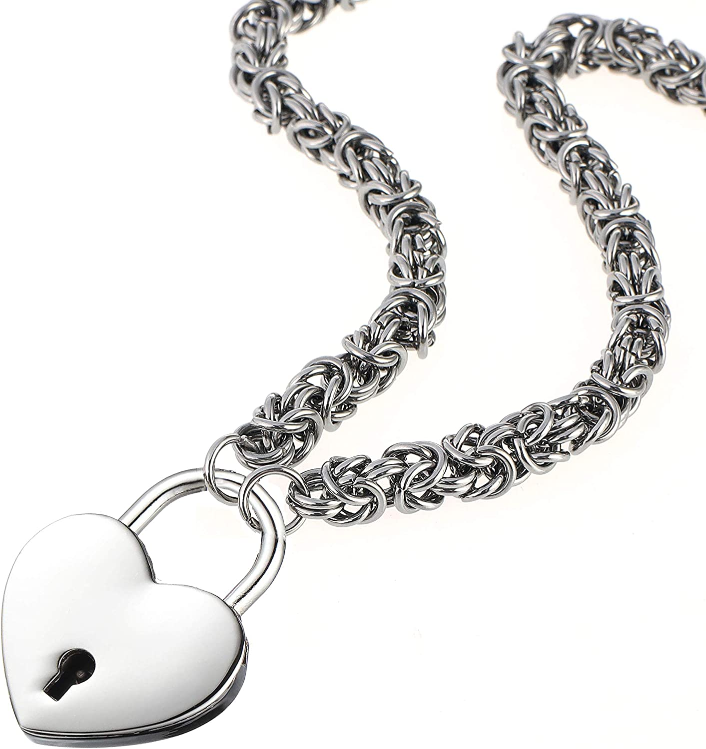 Lock Necklace Stainless Steel Kansas New sales City Mall Chain Collar He Byzantine