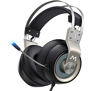 Mpow EG3 Pro - Over Ear Gaming Headset with 7.1 Surround Sound, Compatible with PC,PS4,Xbox One,Nintendo Switch, LED Light, Noise Cancelling Mic & Soft Memory Earmuff