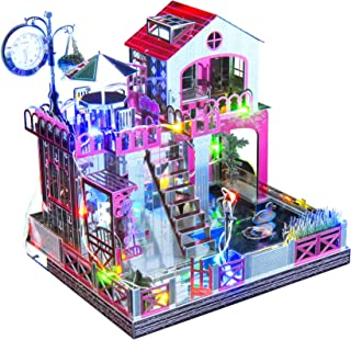3D Puzzle DIY Metal House Villa Model Building Kit with Music and Colorful LED Light, Creative Gift for Girls