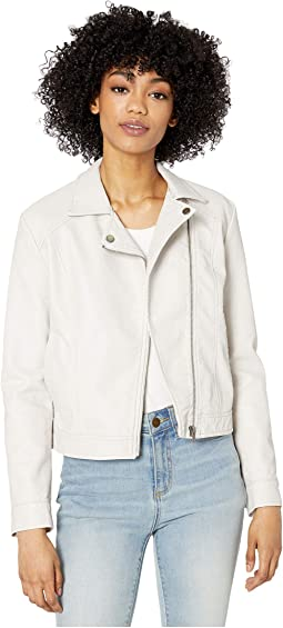 Washed Faux Leather Moto Jacket